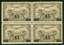 CANADA #C3 6¢ on 5¢ brown olive, Block of 4, og, NH, VF