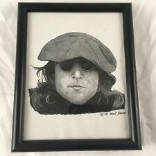 FRANK NAREAU 1999 PRINT JOHN LENNON Framed Copy Black White Art Decor Music