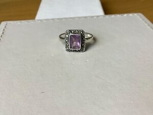 Vintage Marcasite Style Amethyst Glass Centre Sterling Silver Ring..Size Q
