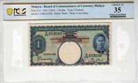 Malaya 1941 1945 1 Dollar PCGS Banknote Certified Choice VF 35 Pick 11 W&S