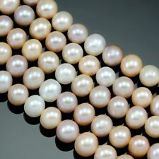 7-8mm Ivory Pink Peach Mixed Natural Colours Near Round Freshwater Pearls Beads