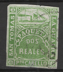 La Guaira St. Thomas  1884 dos real, imperf. forgery by Spiro brothers MNG/hinge