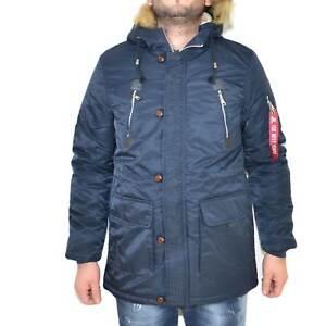 Parka uomo ACY art.3443 blu lungo con pelliccia rimovibile made in italy moda