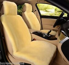 1pc Genuine Real Beige Pelt Sheepskin Fur Car Seat Cover One Size Fits Most Cars