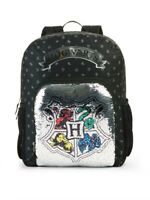 """New Harry Potter HOGWARTS 16"""" Reversible Sequins School Backpack Book Bag Crest"""