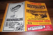 ALTES RENNPROGRAMM -- GROßER PREIS der FORMEL 2 // um Jochen Rindt-Trophäe 1975