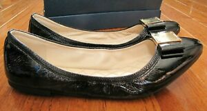 NEW Cole Haan Women's Tali Modern Bow Flats, Black patent leather, Size 10.5 NWB