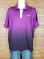Under Armour Purple Heat Gear Loose Fit Ombre Polo Shirt Mens Size Large L