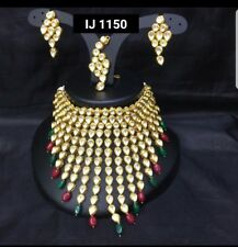 INDIAN JEWELLERY SET DELICATE KUNDAN CHOKER STYLE GOLD PLATED MULTICOLOUR BEADS