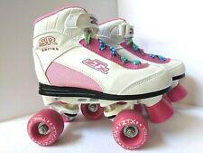 Trac Patrol ZTX Derby Roller Skates Girls size 3 White Pink EUC