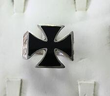 Custom-Made Sterling Silver Men's Black Onyx Iron Cross Ring Size 12
