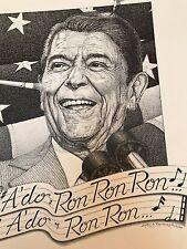 "RONALD REAGAN Signed Art Drawing PEN & INK 17x14 PORTFOLIO PIECE ""A'do Ron Ron"""