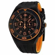 New Mens Technomarine 112005 Night Vision II Black Orange Military Sport Watch