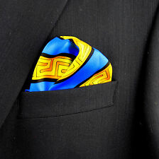 100% Silk Mens Pocket Square Rush Limbaugh No Boundaries Greek Key Hanky New