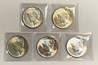 Lot of 5 AU $1 Silver Peace Dollars, Common Dates and Mint Marks
