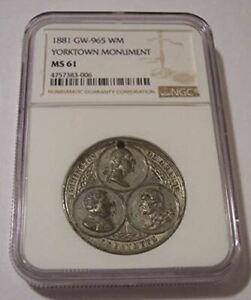 1881 Yorktown Monument Medal GW-965 WM MS61 NGC
