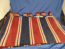 "Lined Drapes Curtains Navy Blue Wine Tan White striped panels 46"" x 74"" Homespun"