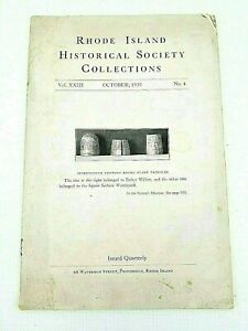 Vintage 1930  Providence RI Historical Society Collections Vol 23 No 4