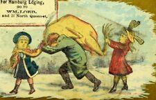 1870's WM Loeb Price List Hosiery Gloves Giant Turkey Lancaster Trade Card F101