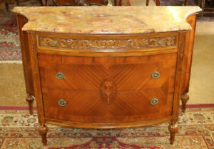 Inlaid Mixed Wood French Marble Top Chest Server Buffet Commode Circa 1920's