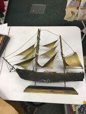 "Handmade Metal sailing ship artist signed 1969 pirate vintage model 22"""