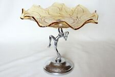 Art Deco Amber Glass 'Roses and Leaf' Plate on Dancing Lady Stand by Bagley