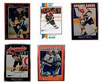 (5) Brett Hull Odd-Ball Trading Card Lot