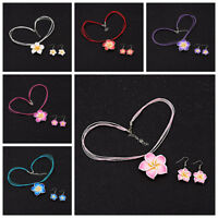 1 Set Girls Kids Children Gifts Flower Necklace Earrings Jewellery Sets 6 Colors