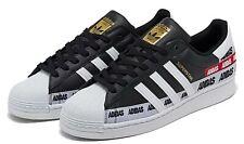 Nuevas Adidas Originales Superstar Cuero Hombre Negro Blanco Atlético Sneaker 8-12
