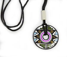Necklace Pink White Green Hand Made & Painted Disc Peru Ancient Tribal Ceramic