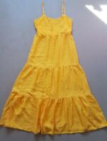 Primark Women's Yellow Mustard Thin Strap Floaty Long Dress Maxi Size 8