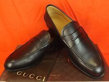 NIB GUCCI PATMOS BLACK LEATHER INTERLOCKING GG DRESS PENNY LOAFERS 11 12 #368456