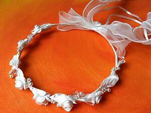 LadyMYP© Haarkranz/Kopfschmuck /Haarbänder mit vielen Blüten & Perlen Kommunion