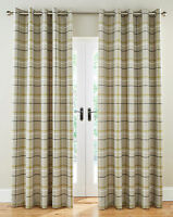 Woven Tartan Large Check Ring Top Eyelet Lined Curtains On Natural Base Colour