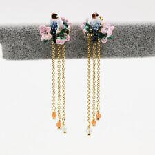 Boucles d`Oreilles Clous Email Perroquet Fleur Oiseau Rose Vert Pompon Long  L6