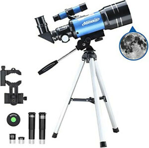 AOMEKIE 70mm Telescope for Astronomy Beginners Kids Adults with 3X Barlow Lens
