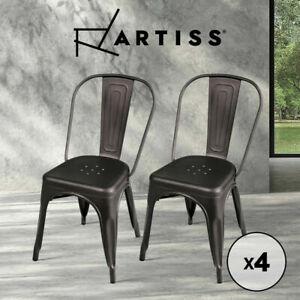 Artiss 4 x Replica Tolix Dining Chairs Metal Steel Bar Stools Chair Gunmetal