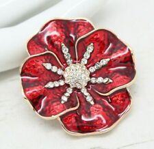 Beautiful Vintage Style Red Enamel & Crystal POPPY Flower BROOCH Pin Jewellery