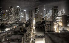 """New York City Black White 10""""X30"""" Canvas Pictures Cityscape Wall Art Sky Prints"""