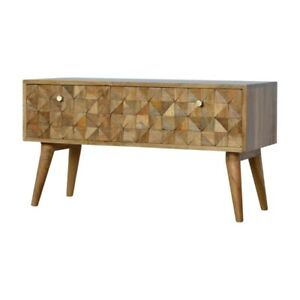 Mid Century Style Hand Carved Storage Bench - Media TV Unit