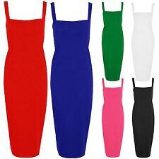 New Ladies Plus Size Flare Square Neck Strap Bodycon Long Midi Dress 8-22