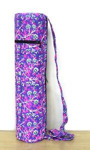 "INDIAN HANDBLOCK"" Purple Floral Yoga Mat Carrier Gym Bags With Shoulder Strap UK"