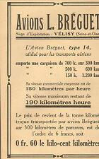VELIZY AVIONS BREGUET PARIS ETS STOKVIS LE RAPID PUBLICITE 1919