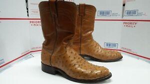 Unique Justin Ostrich Leather Cowboy Boots Mens Size 7.5 EE