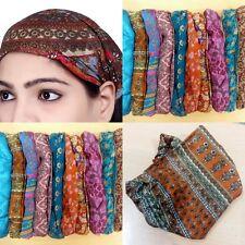 10 Pieces Women Silk Headband Printed Wide Hairband Lot Men Wrap Band Yoga SC05