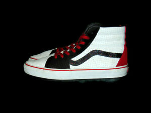 Vans Sneakers White Red Black Leather Suede Sk8 Hi Lace Up  Mens 10.5 Womens 12