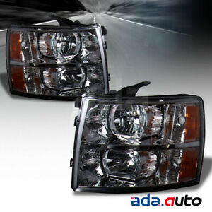 2007-2014 Chevy Silverado 1500 2500 3500 HD Chrome Factory Style Headlights Pair