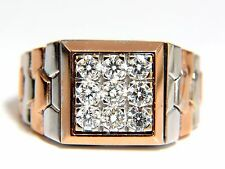 "1.02ct natural diamonds ""watch band"" mens ring G/Vs 3d 18kt 15 gram Flexible+"