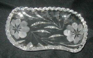 OLD AMERICAN BRILLIANT CUT GLASS RELISH, CANDY DISH, w FLOWERS, DEEP CUT LEAVES