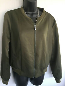 LOVELY OASIS OLIVE GREEN WOMEN'S ZIP UP JACKET WITH FRONT SILKY PANELS - SIZE 12